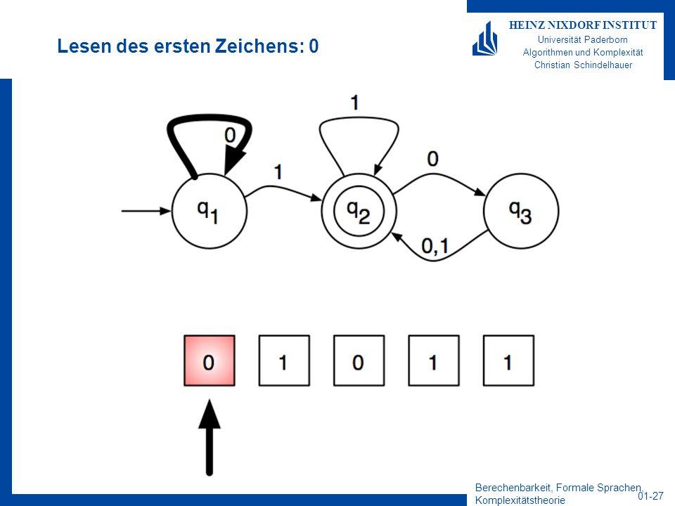 Berechenbarkeit, Formale Sprachen, Komplexitätstheorie 01-27 HEINZ NIXDORF INSTITUT Universität Paderborn Algorithmen und Komplexität Christian Schind