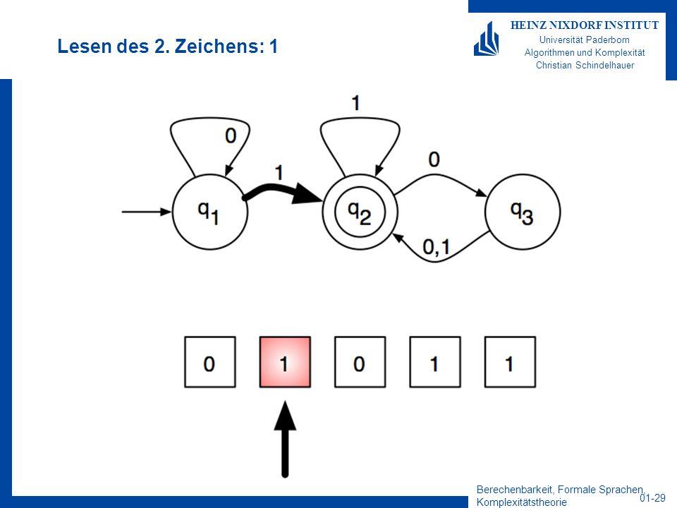 Berechenbarkeit, Formale Sprachen, Komplexitätstheorie 01-29 HEINZ NIXDORF INSTITUT Universität Paderborn Algorithmen und Komplexität Christian Schind