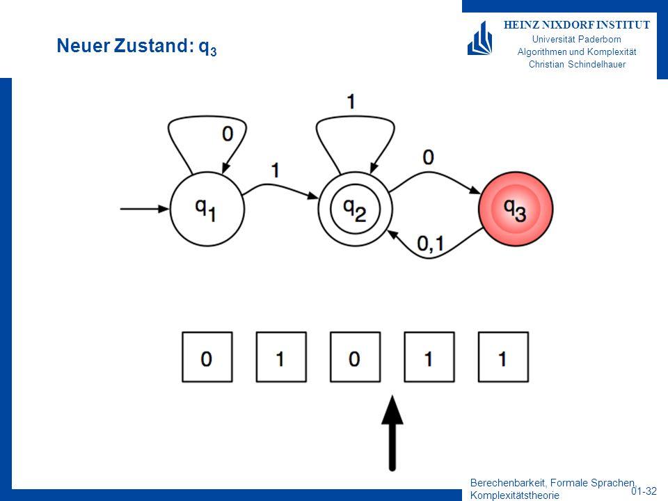 Berechenbarkeit, Formale Sprachen, Komplexitätstheorie 01-32 HEINZ NIXDORF INSTITUT Universität Paderborn Algorithmen und Komplexität Christian Schind