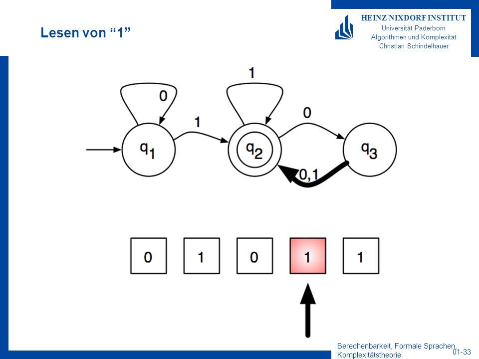 Berechenbarkeit, Formale Sprachen, Komplexitätstheorie 01-33 HEINZ NIXDORF INSTITUT Universität Paderborn Algorithmen und Komplexität Christian Schind