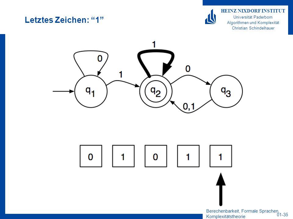 Berechenbarkeit, Formale Sprachen, Komplexitätstheorie 01-35 HEINZ NIXDORF INSTITUT Universität Paderborn Algorithmen und Komplexität Christian Schind