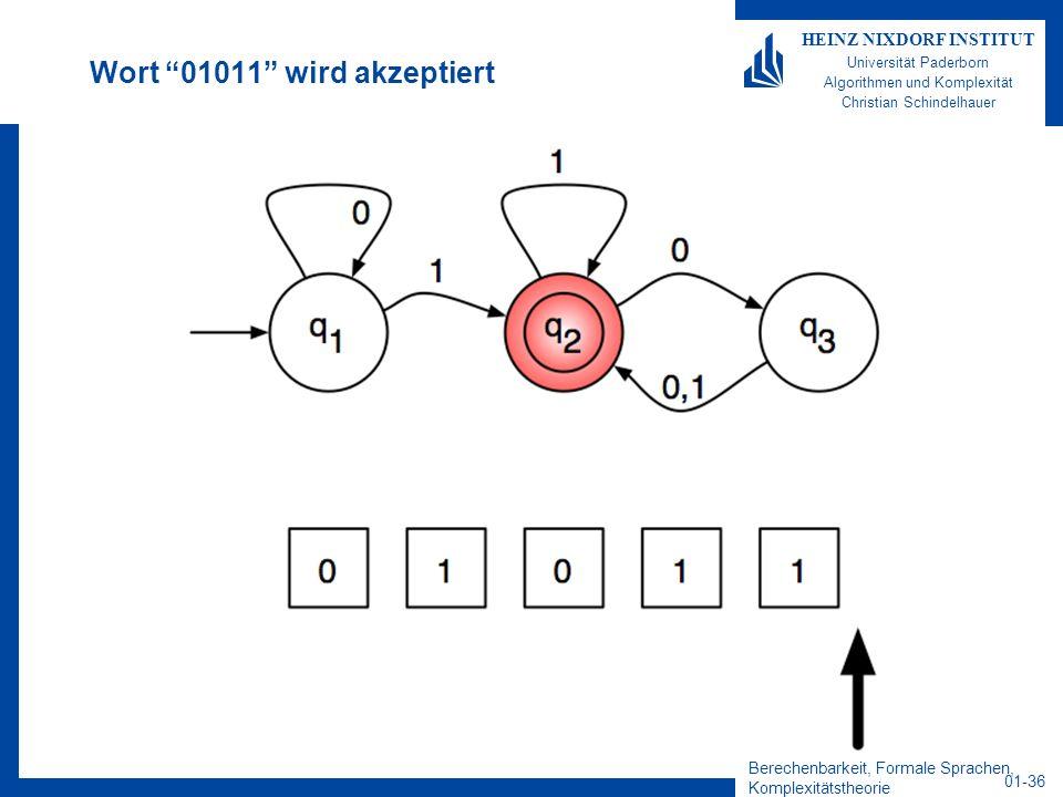 Berechenbarkeit, Formale Sprachen, Komplexitätstheorie 01-36 HEINZ NIXDORF INSTITUT Universität Paderborn Algorithmen und Komplexität Christian Schind