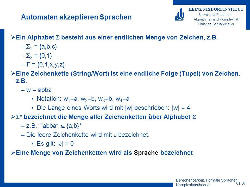 Berechenbarkeit, Formale Sprachen, Komplexitätstheorie 01-37 HEINZ NIXDORF INSTITUT Universität Paderborn Algorithmen und Komplexität Christian Schind