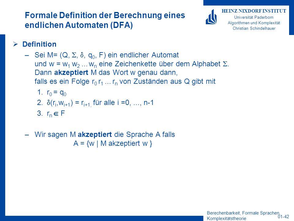 Berechenbarkeit, Formale Sprachen, Komplexitätstheorie 01-42 HEINZ NIXDORF INSTITUT Universität Paderborn Algorithmen und Komplexität Christian Schind