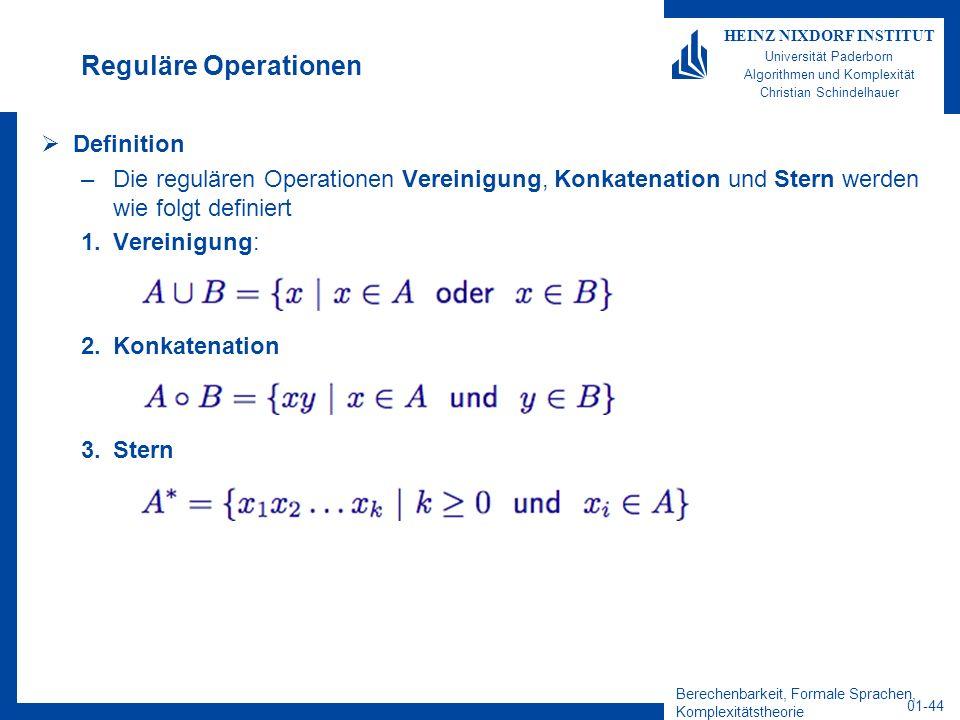 Berechenbarkeit, Formale Sprachen, Komplexitätstheorie 01-44 HEINZ NIXDORF INSTITUT Universität Paderborn Algorithmen und Komplexität Christian Schind