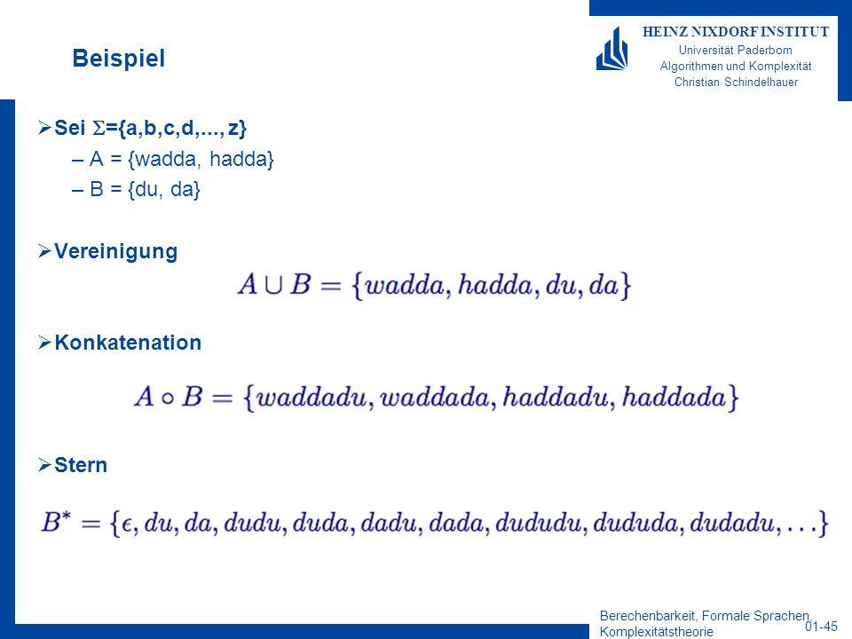 Berechenbarkeit, Formale Sprachen, Komplexitätstheorie 01-45 HEINZ NIXDORF INSTITUT Universität Paderborn Algorithmen und Komplexität Christian Schind