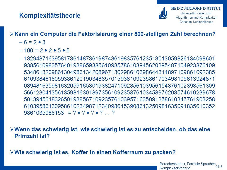 Berechenbarkeit, Formale Sprachen, Komplexitätstheorie 01-29 HEINZ NIXDORF INSTITUT Universität Paderborn Algorithmen und Komplexität Christian Schindelhauer Lesen des 2.