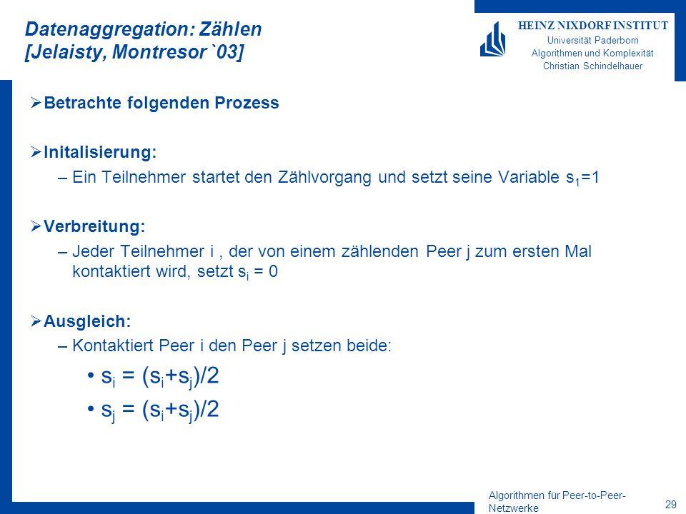Algorithmen für Peer-to-Peer- Netzwerke 29 HEINZ NIXDORF INSTITUT Universität Paderborn Algorithmen und Komplexität Christian Schindelhauer Datenaggregation: Zählen [Jelaisty, Montresor `03] Betrachte folgenden Prozess Initalisierung: –Ein Teilnehmer startet den Zählvorgang und setzt seine Variable s 1 =1 Verbreitung: –Jeder Teilnehmer i, der von einem zählenden Peer j zum ersten Mal kontaktiert wird, setzt s i = 0 Ausgleich: –Kontaktiert Peer i den Peer j setzen beide: s i = (s i +s j )/2 s j = (s i +s j )/2