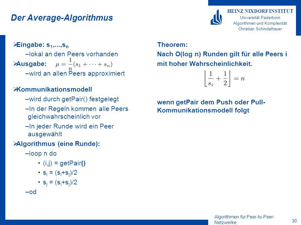 Algorithmen für Peer-to-Peer- Netzwerke 30 HEINZ NIXDORF INSTITUT Universität Paderborn Algorithmen und Komplexität Christian Schindelhauer Der Average-Algorithmus Eingabe: s 1,...,s n –lokal an den Peers vorhanden Ausgabe: –wird an allen Peers approximiert Kommunikationsmodell –wird durch getPair() festgelegt –In der Regeln kommen alle Peers gleichwahrscheinlich vor –In jeder Runde wird ein Peer ausgewählt Algorithmus (eine Runde): –loop n do (i,j) = getPair() s i = (s i +s j )/2 s j = (s i +s j )/2 –od Theorem: Nach O(log n) Runden gilt für alle Peers i mit hoher Wahrscheinlichkeit.