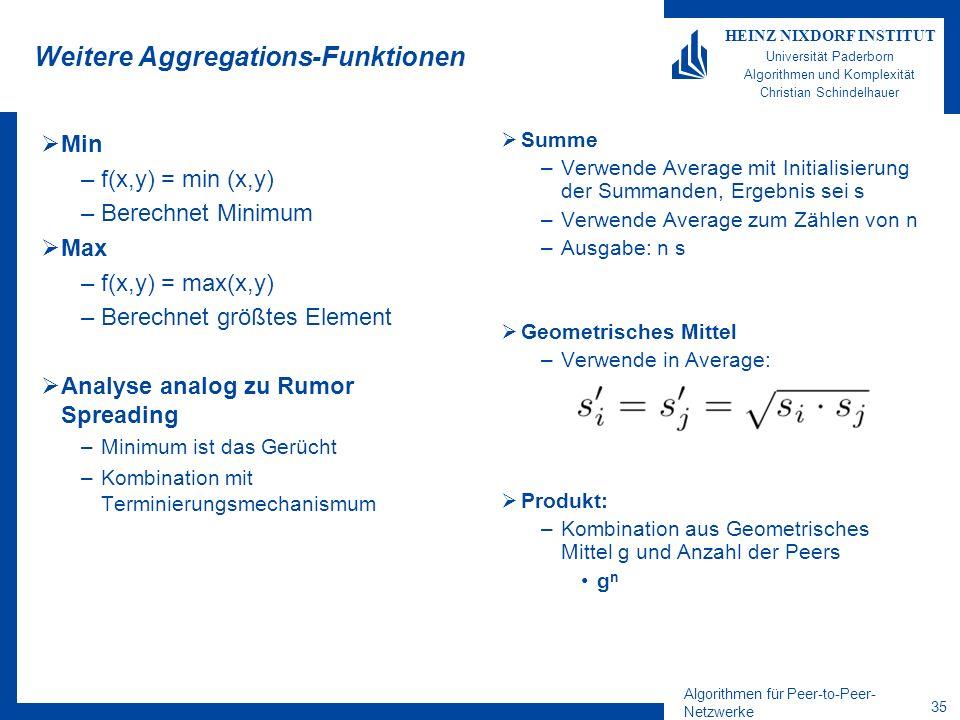 Algorithmen für Peer-to-Peer- Netzwerke 35 HEINZ NIXDORF INSTITUT Universität Paderborn Algorithmen und Komplexität Christian Schindelhauer Weitere Aggregations-Funktionen Min –f(x,y) = min (x,y) –Berechnet Minimum Max –f(x,y) = max(x,y) –Berechnet größtes Element Analyse analog zu Rumor Spreading –Minimum ist das Gerücht –Kombination mit Terminierungsmechanismum Summe –Verwende Average mit Initialisierung der Summanden, Ergebnis sei s –Verwende Average zum Zählen von n –Ausgabe: n s Geometrisches Mittel –Verwende in Average: Produkt: –Kombination aus Geometrisches Mittel g und Anzahl der Peers g n