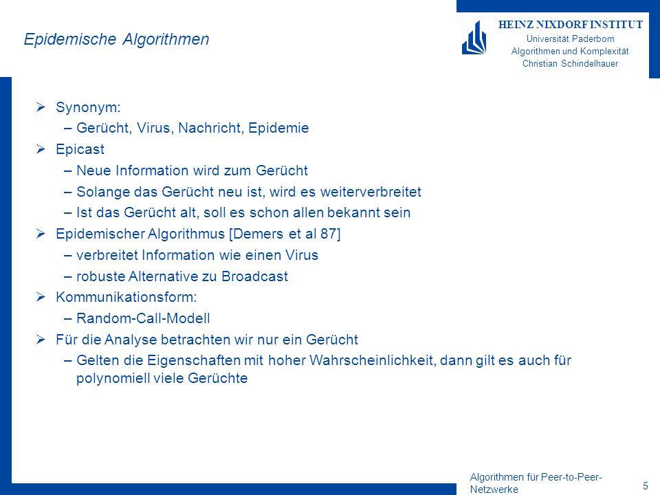 Algorithmen für Peer-to-Peer- Netzwerke 16 HEINZ NIXDORF INSTITUT Universität Paderborn Algorithmen und Komplexität Christian Schindelhauer Pull-Modell Gegeben: Rel.