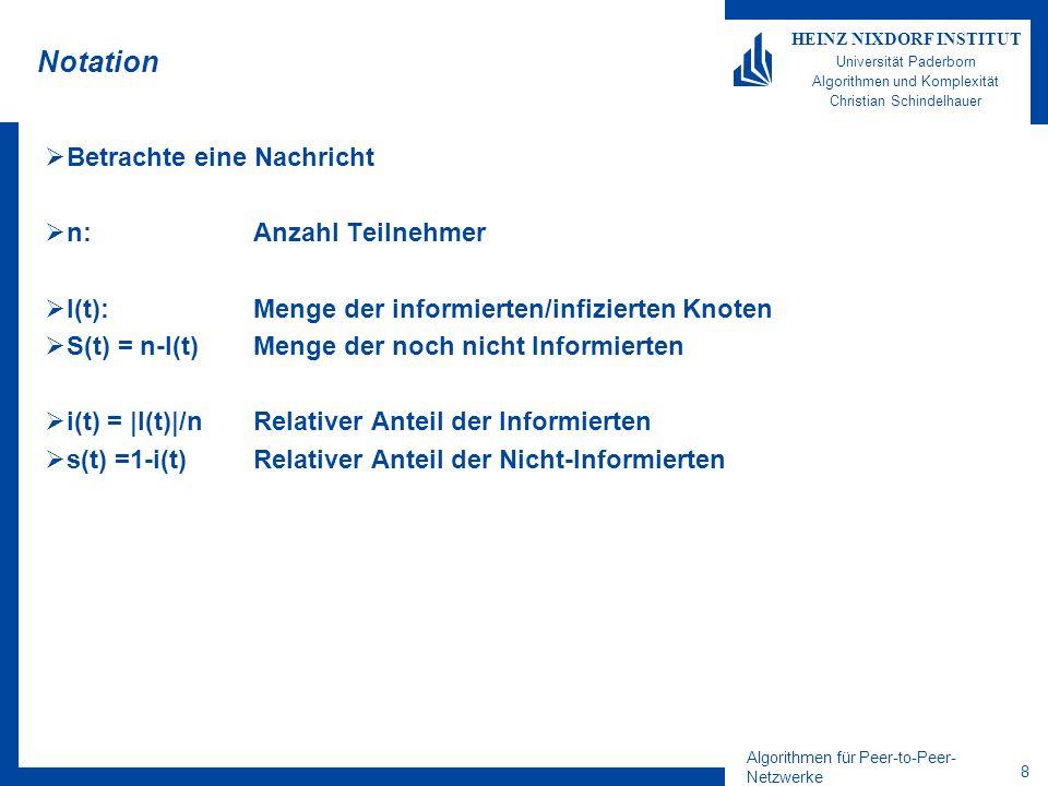 Algorithmen für Peer-to-Peer- Netzwerke 8 HEINZ NIXDORF INSTITUT Universität Paderborn Algorithmen und Komplexität Christian Schindelhauer Notation Betrachte eine Nachricht n: Anzahl Teilnehmer I(t): Menge der informierten/infizierten Knoten S(t) = n-I(t)Menge der noch nicht Informierten i(t) = |I(t)|/nRelativer Anteil der Informierten s(t) =1-i(t)Relativer Anteil der Nicht-Informierten