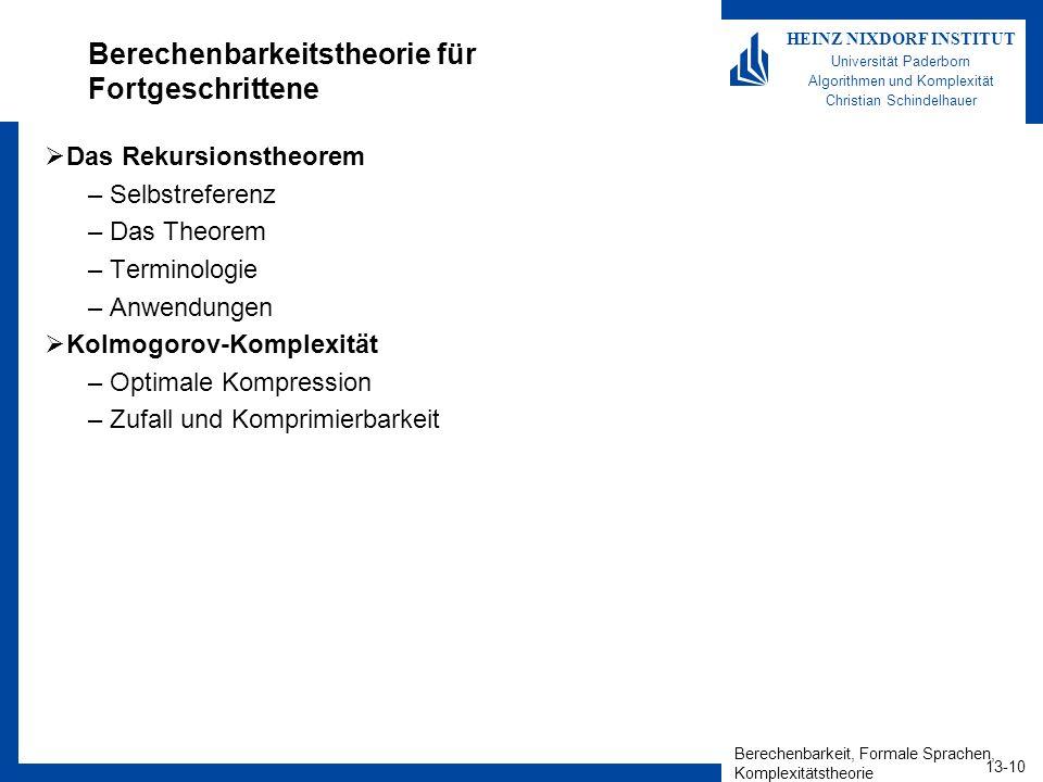 Berechenbarkeit, Formale Sprachen, Komplexitätstheorie 13-10 HEINZ NIXDORF INSTITUT Universität Paderborn Algorithmen und Komplexität Christian Schind