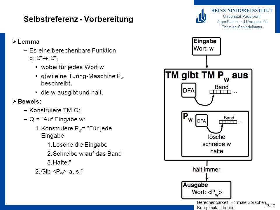 Berechenbarkeit, Formale Sprachen, Komplexitätstheorie 13-12 HEINZ NIXDORF INSTITUT Universität Paderborn Algorithmen und Komplexität Christian Schind
