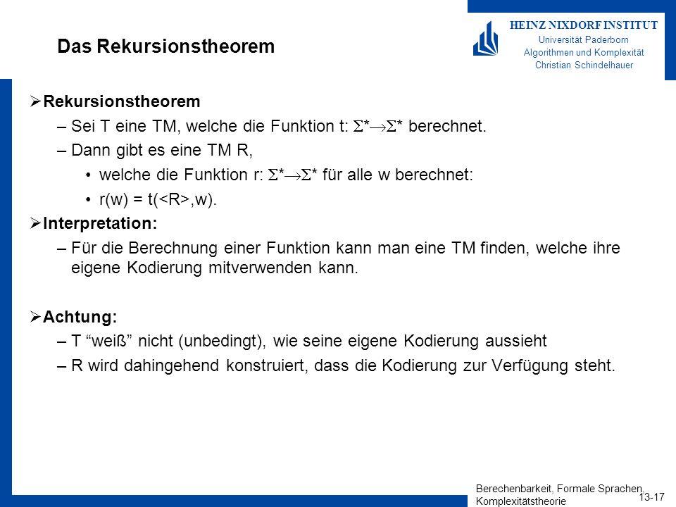 Berechenbarkeit, Formale Sprachen, Komplexitätstheorie 13-17 HEINZ NIXDORF INSTITUT Universität Paderborn Algorithmen und Komplexität Christian Schind