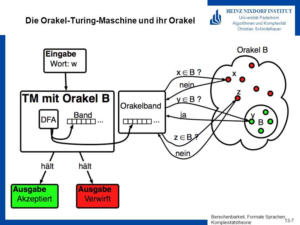Berechenbarkeit, Formale Sprachen, Komplexitätstheorie 13-7 HEINZ NIXDORF INSTITUT Universität Paderborn Algorithmen und Komplexität Christian Schinde