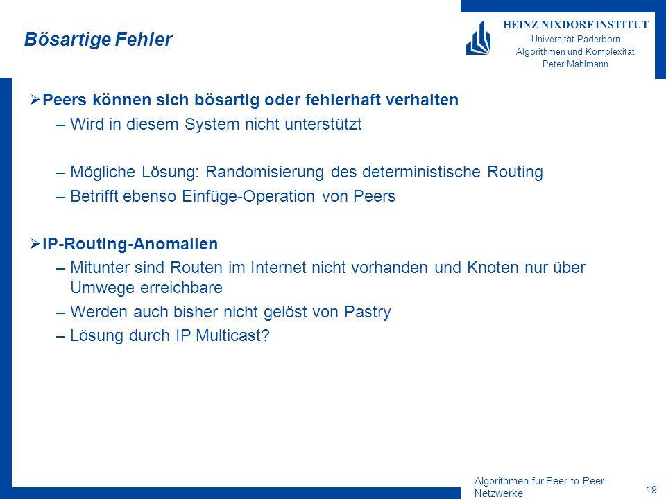Algorithmen für Peer-to-Peer- Netzwerke 19 HEINZ NIXDORF INSTITUT Universität Paderborn Algorithmen und Komplexität Peter Mahlmann Bösartige Fehler Peers können sich bösartig oder fehlerhaft verhalten –Wird in diesem System nicht unterstützt –Mögliche Lösung: Randomisierung des deterministische Routing –Betrifft ebenso Einfüge-Operation von Peers IP-Routing-Anomalien –Mitunter sind Routen im Internet nicht vorhanden und Knoten nur über Umwege erreichbare –Werden auch bisher nicht gelöst von Pastry –Lösung durch IP Multicast