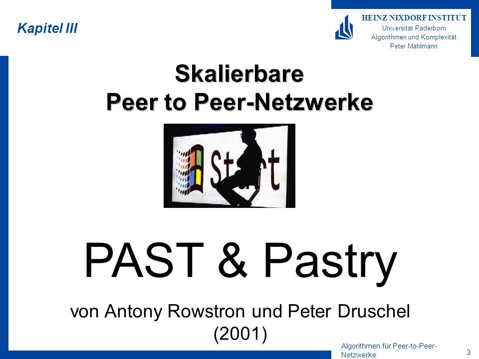 Algorithmen für Peer-to-Peer- Netzwerke 14 HEINZ NIXDORF INSTITUT Universität Paderborn Algorithmen und Komplexität Peter Mahlmann Routing - Diskussion Falls Routing-Table korrekt ist, –benötigt Routing O((log n)/b) Nachrichten Solange Leaf-Set korrekt ist, –benötigt Routing O(n/ l ) Nachrichten –Tatsächlich ist es aber wesentlich schneller, da selbst defekte Routing-Table erhebliche Beschleunigung bringt Routing berücksichtigt nicht die wahren Abstände –M wird nur benutzt, falls Fehler in der Routing-Tabelle vorliegen –Durch Ausnutzung der Lokalität, Verbesserungen möglich Daher verwendet Pastry Heuristiken zur Verbesserung der Latenzzeit –Diese werden in den besonders teuren letzten Hops angewendet