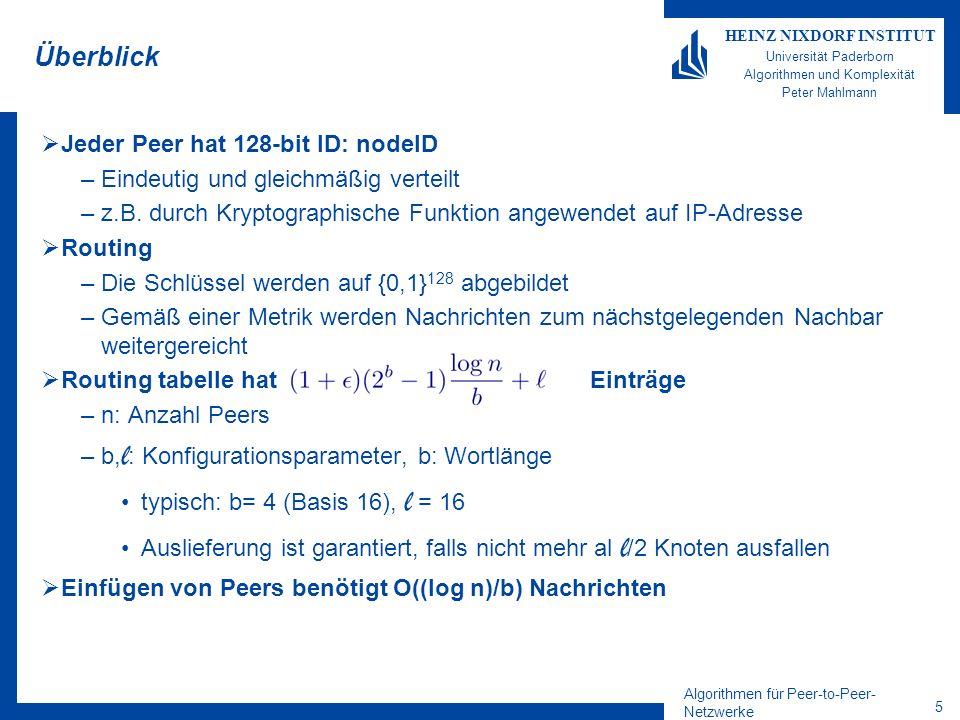 Algorithmen für Peer-to-Peer- Netzwerke 16 HEINZ NIXDORF INSTITUT Universität Paderborn Algorithmen und Komplexität Peter Mahlmann Lokalität in Routing-Table Annahme: –Beim Einfügen eines Peers A in Pastry kontaktiert der Knoten zuerst einen nahen Knoten P –Alle Knoten haben schon ihre Routing- Table optimiert Aber: –Der zuerst kontaktierte Peer P ist nicht bezüglich der NodeID nahe 1.
