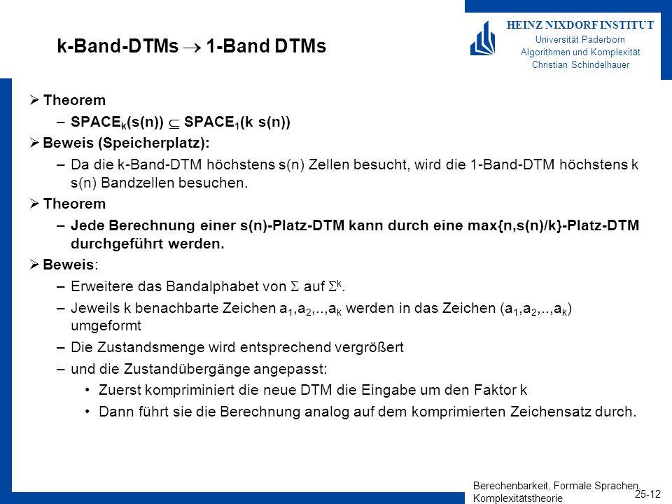 Berechenbarkeit, Formale Sprachen, Komplexitätstheorie 25-12 HEINZ NIXDORF INSTITUT Universität Paderborn Algorithmen und Komplexität Christian Schind