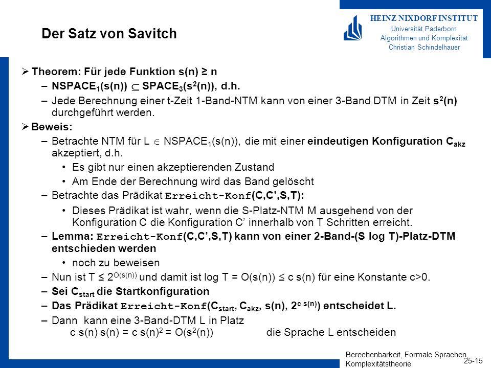 Berechenbarkeit, Formale Sprachen, Komplexitätstheorie 25-15 HEINZ NIXDORF INSTITUT Universität Paderborn Algorithmen und Komplexität Christian Schind