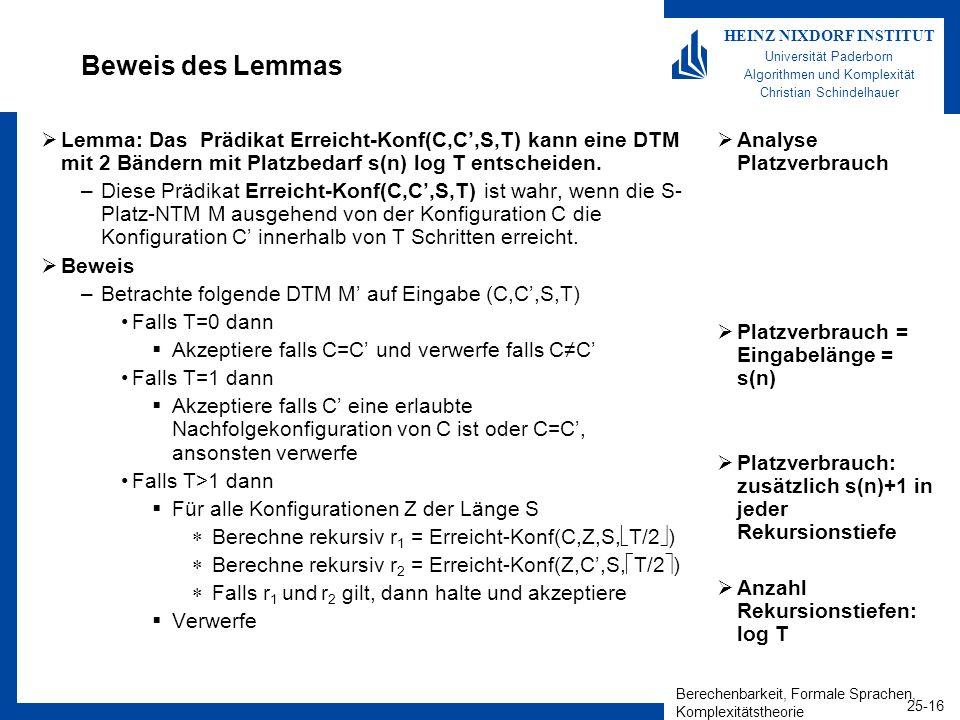 Berechenbarkeit, Formale Sprachen, Komplexitätstheorie 25-16 HEINZ NIXDORF INSTITUT Universität Paderborn Algorithmen und Komplexität Christian Schind