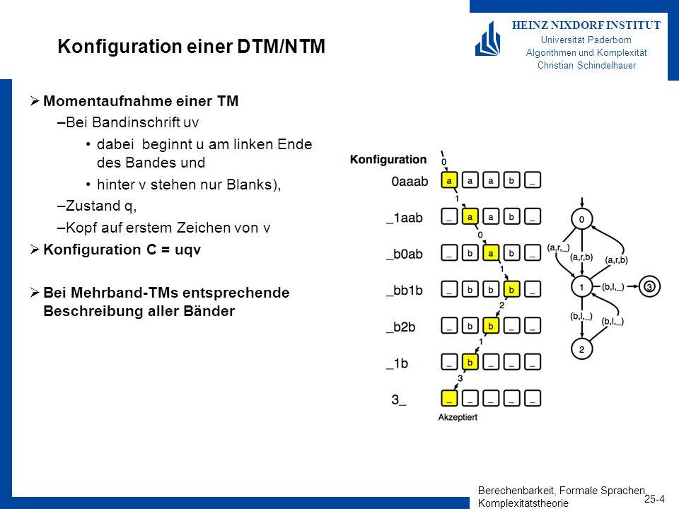 Berechenbarkeit, Formale Sprachen, Komplexitätstheorie 25-5 HEINZ NIXDORF INSTITUT Universität Paderborn Algorithmen und Komplexität Christian Schindelhauer Akzeptanz einer NTM Eine Nichtdeterministische Turingmaschine M akzeptiert eine Eingabe w, falls es eine Folge von Konfigurationen C 1, C 2, …, C k gibt, so dass 1.C 1 ist die Startkonfiguration von M bei Eingabe w 2.C i kann zu C i + 1 überführt werden 3.C k ist eine akzeptierende Konfiguration Die von M akzeptierten Worte bilden die von M akzeptierte Sprache L(M) Eine NTM entscheidet eine Sprache, wenn jede Eingabe zu einem endlichen Berechnungsbaum der Konfigurationen führt.