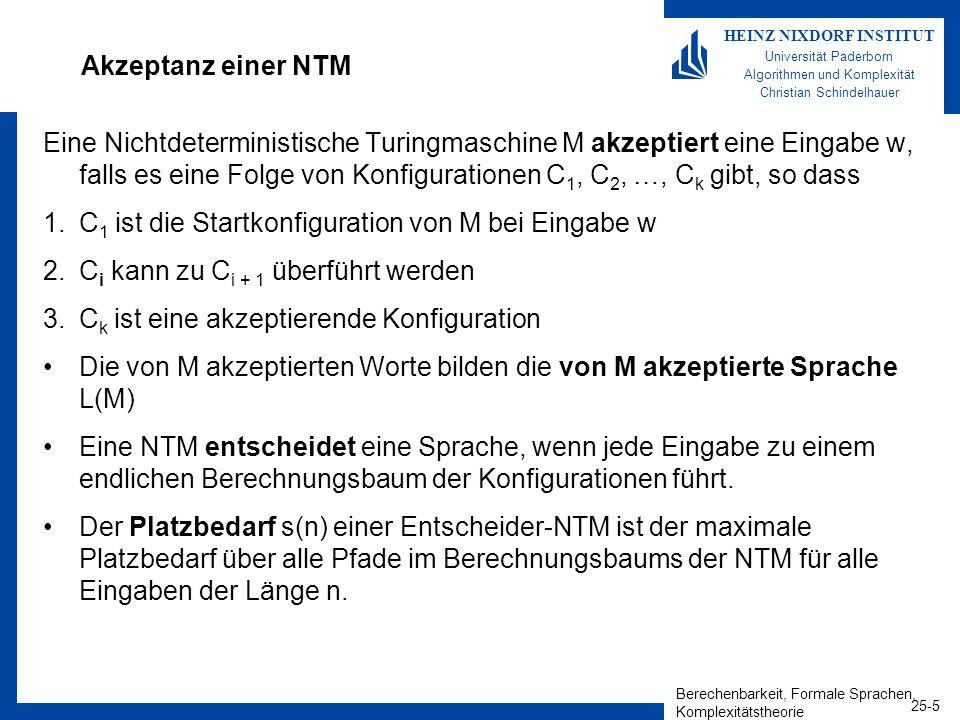 Berechenbarkeit, Formale Sprachen, Komplexitätstheorie 25-5 HEINZ NIXDORF INSTITUT Universität Paderborn Algorithmen und Komplexität Christian Schinde