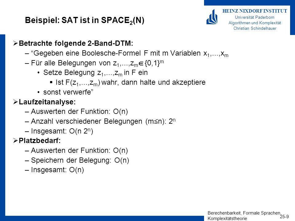 Berechenbarkeit, Formale Sprachen, Komplexitätstheorie 25-10 HEINZ NIXDORF INSTITUT Universität Paderborn Algorithmen und Komplexität Christian Schindelhauer k-Band-DTMs 1-Band DTMs Theorem –SPACE k (s(n)) SPACE 1 (O(s(n)), d.h.