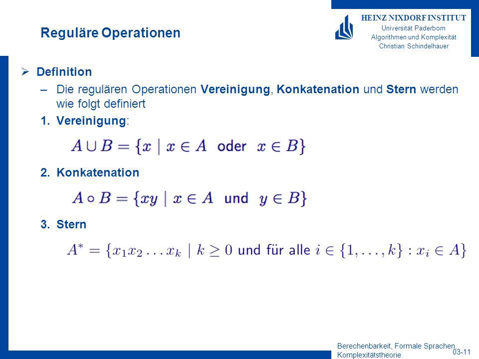Berechenbarkeit, Formale Sprachen, Komplexitätstheorie 03-11 HEINZ NIXDORF INSTITUT Universität Paderborn Algorithmen und Komplexität Christian Schind