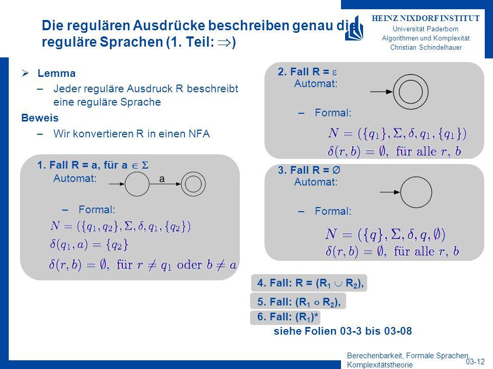 Berechenbarkeit, Formale Sprachen, Komplexitätstheorie 03-12 HEINZ NIXDORF INSTITUT Universität Paderborn Algorithmen und Komplexität Christian Schind