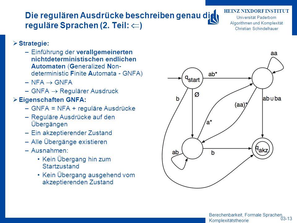Berechenbarkeit, Formale Sprachen, Komplexitätstheorie 03-13 HEINZ NIXDORF INSTITUT Universität Paderborn Algorithmen und Komplexität Christian Schind