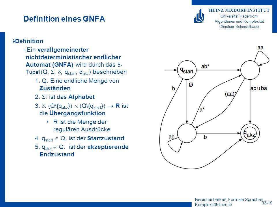Berechenbarkeit, Formale Sprachen, Komplexitätstheorie 03-19 HEINZ NIXDORF INSTITUT Universität Paderborn Algorithmen und Komplexität Christian Schind