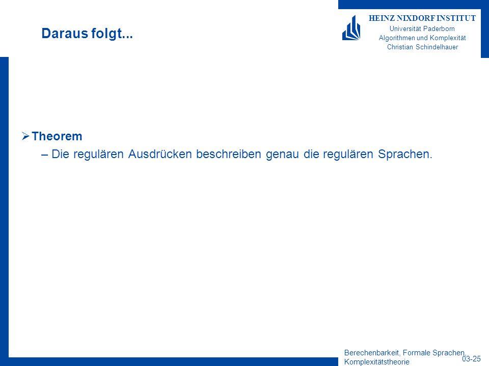 Berechenbarkeit, Formale Sprachen, Komplexitätstheorie 03-25 HEINZ NIXDORF INSTITUT Universität Paderborn Algorithmen und Komplexität Christian Schind