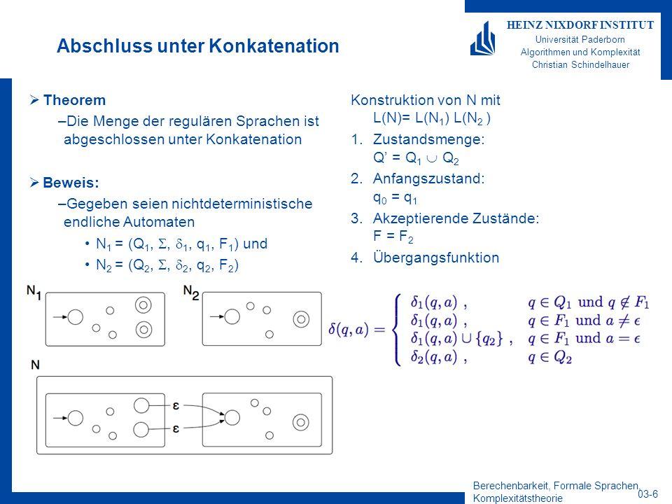 Berechenbarkeit, Formale Sprachen, Komplexitätstheorie 03-6 HEINZ NIXDORF INSTITUT Universität Paderborn Algorithmen und Komplexität Christian Schinde