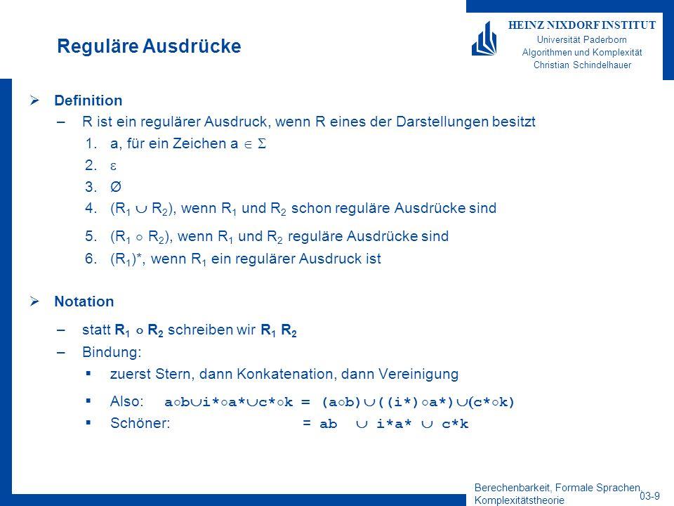Berechenbarkeit, Formale Sprachen, Komplexitätstheorie 03-9 HEINZ NIXDORF INSTITUT Universität Paderborn Algorithmen und Komplexität Christian Schinde