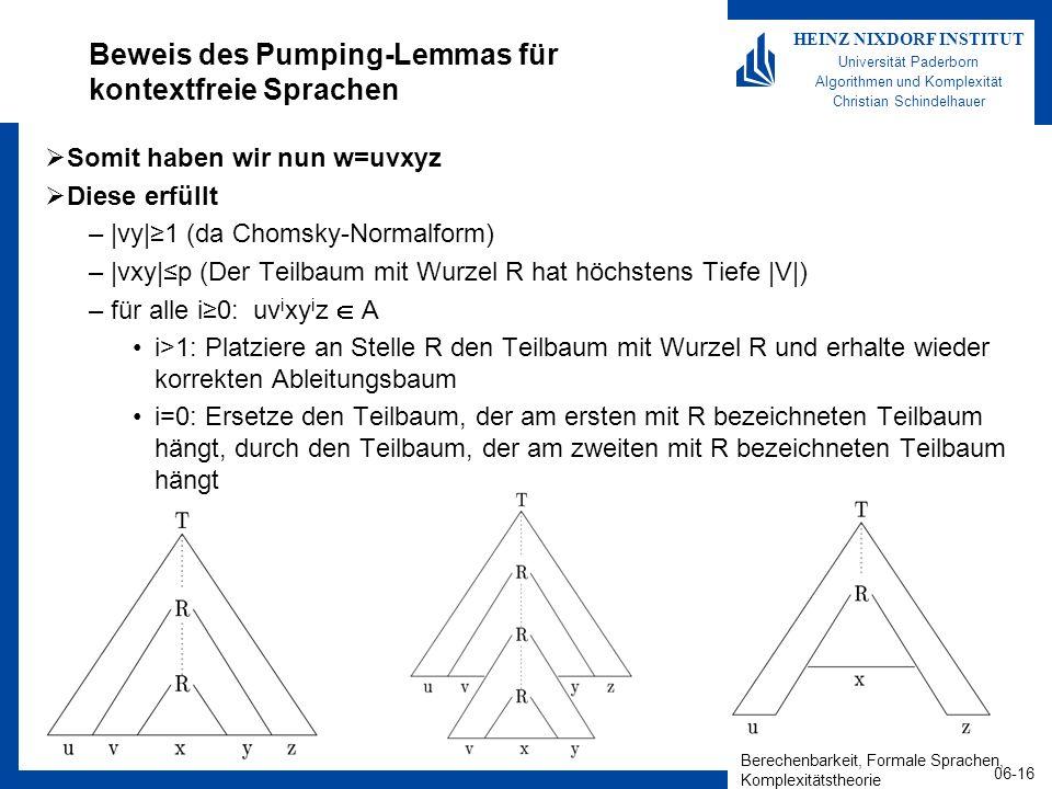 Berechenbarkeit, Formale Sprachen, Komplexitätstheorie 06-16 HEINZ NIXDORF INSTITUT Universität Paderborn Algorithmen und Komplexität Christian Schindelhauer Beweis des Pumping-Lemmas für kontextfreie Sprachen Somit haben wir nun w=uvxyz Diese erfüllt –|vy|1 (da Chomsky-Normalform) –|vxy|p (Der Teilbaum mit Wurzel R hat höchstens Tiefe |V|) –für alle i0: uv i xy i z A i>1: Platziere an Stelle R den Teilbaum mit Wurzel R und erhalte wieder korrekten Ableitungsbaum i=0: Ersetze den Teilbaum, der am ersten mit R bezeichneten Teilbaum hängt, durch den Teilbaum, der am zweiten mit R bezeichneten Teilbaum hängt