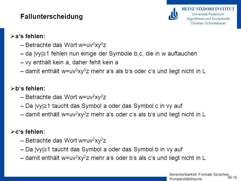 Berechenbarkeit, Formale Sprachen, Komplexitätstheorie 06-18 HEINZ NIXDORF INSTITUT Universität Paderborn Algorithmen und Komplexität Christian Schindelhauer Fallunterscheidung as fehlen: –Betrachte das Wort w=uv 0 xy 0 z –da |vy|1 fehlen nun einige der Symbole b,c, die in w auftauchen –vy enthält kein a, daher fehlt kein a –damit enthält w=uv 0 xy 0 z mehr as als bs oder cs und liegt nicht in L bs fehlen: –Betrachte das Wort w=uv 2 xy 2 z –Da |vy|1 taucht das Symbol a oder das Symbol c in vy auf –damit enthält w=uv 2 xy 2 z mehr as oder cs als bs und liegt nicht in L cs fehlen: –Betrachte das Wort w=uv 2 xy 2 z –Da |vy|1 taucht das Symbol a oder das Symbol b in vy auf –damit enthält w=uv 2 xy 2 z mehr as oder bs als cs und liegt nicht in L