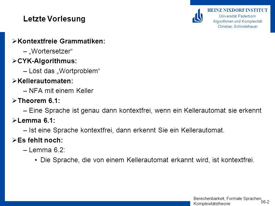 Berechenbarkeit, Formale Sprachen, Komplexitätstheorie 06-2 HEINZ NIXDORF INSTITUT Universität Paderborn Algorithmen und Komplexität Christian Schindelhauer Letzte Vorlesung Kontextfreie Grammatiken: –Wortersetzer CYK-Algorithmus: –Löst das Wortproblem Kellerautomaten: –NFA mit einem Keller Theorem 6.1: –Eine Sprache ist genau dann kontextfrei, wenn ein Kellerautomat sie erkennt Lemma 6.1: –Ist eine Sprache kontextfrei, dann erkennt Sie ein Kellerautomat.