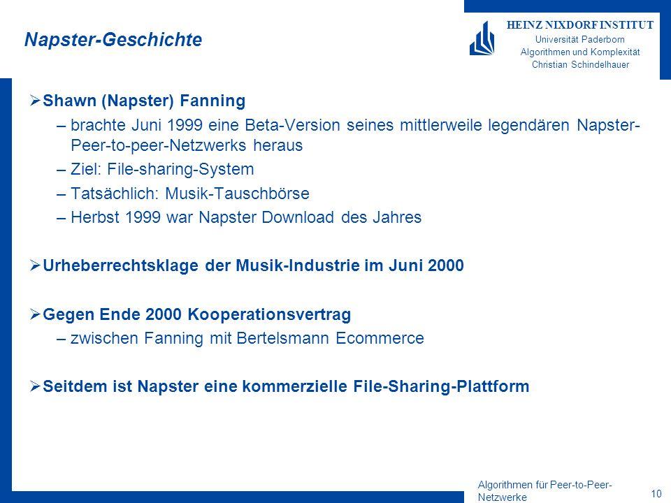 Algorithmen für Peer-to-Peer- Netzwerke 10 HEINZ NIXDORF INSTITUT Universität Paderborn Algorithmen und Komplexität Christian Schindelhauer Napster-Ge