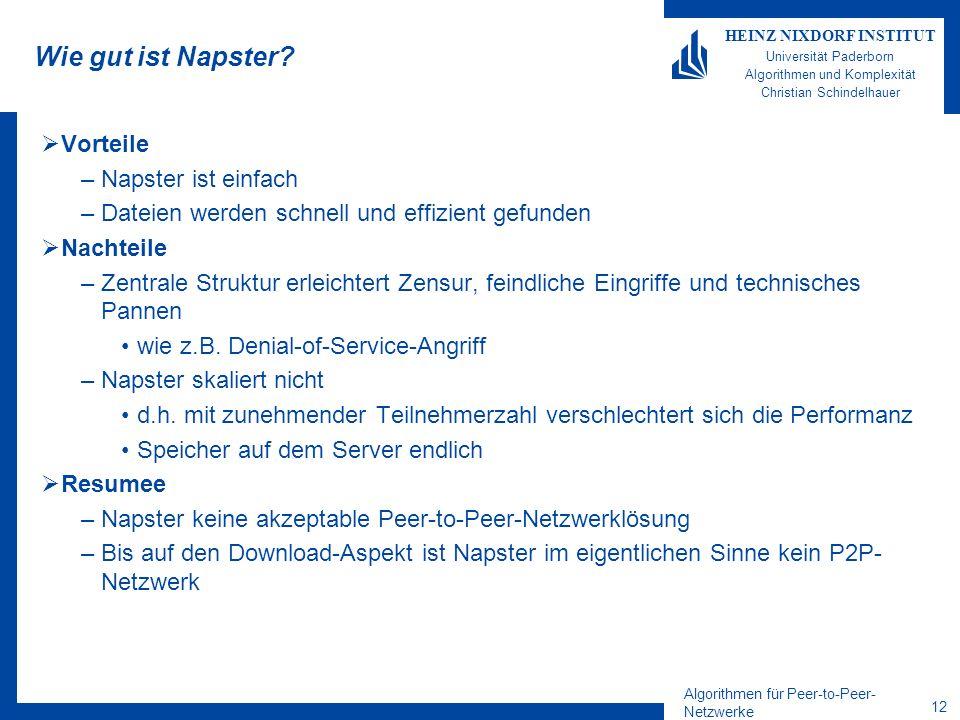 Algorithmen für Peer-to-Peer- Netzwerke 12 HEINZ NIXDORF INSTITUT Universität Paderborn Algorithmen und Komplexität Christian Schindelhauer Wie gut ist Napster.