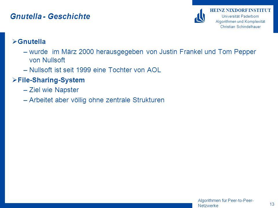 Algorithmen für Peer-to-Peer- Netzwerke 13 HEINZ NIXDORF INSTITUT Universität Paderborn Algorithmen und Komplexität Christian Schindelhauer Gnutella - Geschichte Gnutella –wurde im März 2000 herausgegeben von Justin Frankel und Tom Pepper von Nullsoft –Nullsoft ist seit 1999 eine Tochter von AOL File-Sharing-System –Ziel wie Napster –Arbeitet aber völlig ohne zentrale Strukturen