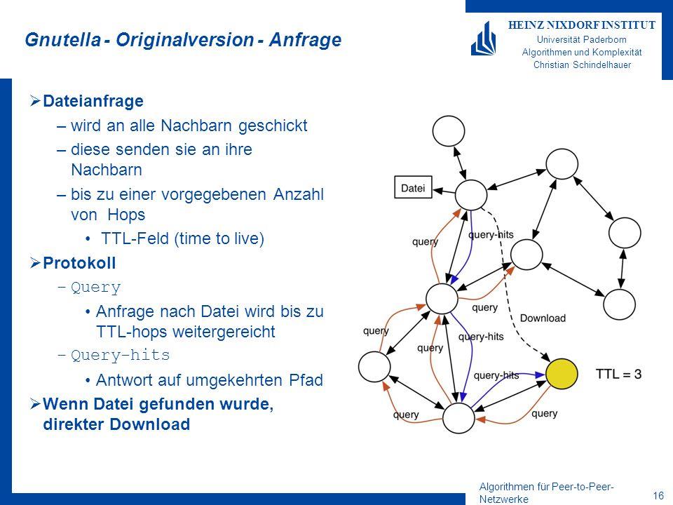 Algorithmen für Peer-to-Peer- Netzwerke 16 HEINZ NIXDORF INSTITUT Universität Paderborn Algorithmen und Komplexität Christian Schindelhauer Gnutella - Originalversion - Anfrage Dateianfrage –wird an alle Nachbarn geschickt –diese senden sie an ihre Nachbarn –bis zu einer vorgegebenen Anzahl von Hops TTL-Feld (time to live) Protokoll –Query Anfrage nach Datei wird bis zu TTL-hops weitergereicht –Query-hits Antwort auf umgekehrten Pfad Wenn Datei gefunden wurde, direkter Download