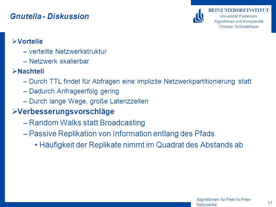 Algorithmen für Peer-to-Peer- Netzwerke 17 HEINZ NIXDORF INSTITUT Universität Paderborn Algorithmen und Komplexität Christian Schindelhauer Gnutella -