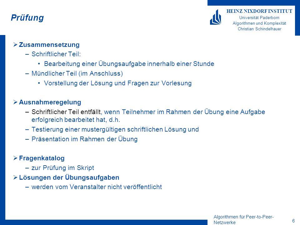 Algorithmen für Peer-to-Peer- Netzwerke 6 HEINZ NIXDORF INSTITUT Universität Paderborn Algorithmen und Komplexität Christian Schindelhauer Prüfung Zus