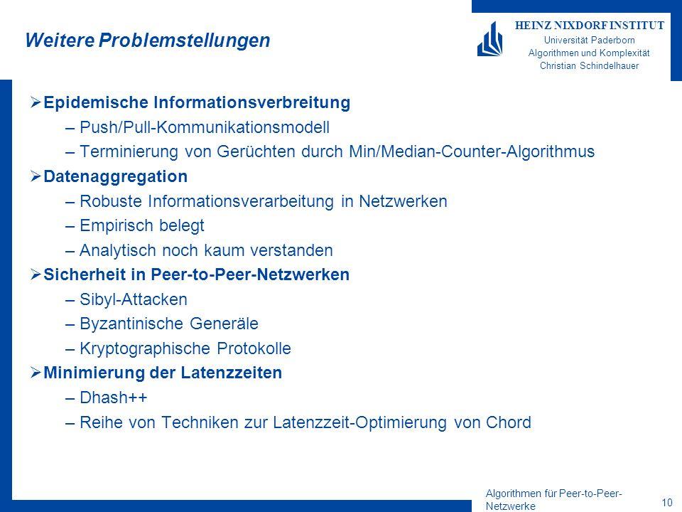 Algorithmen für Peer-to-Peer- Netzwerke 10 HEINZ NIXDORF INSTITUT Universität Paderborn Algorithmen und Komplexität Christian Schindelhauer Weitere Pr