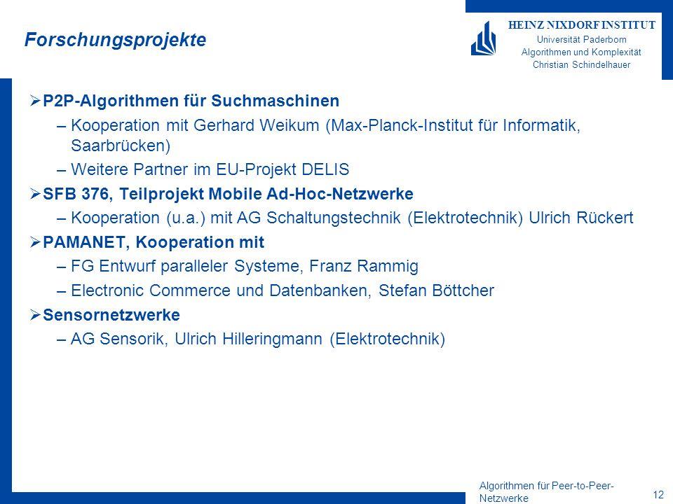 Algorithmen für Peer-to-Peer- Netzwerke 12 HEINZ NIXDORF INSTITUT Universität Paderborn Algorithmen und Komplexität Christian Schindelhauer Forschungs