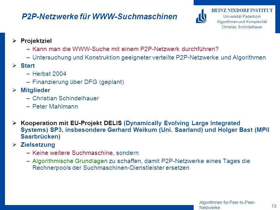 Algorithmen für Peer-to-Peer- Netzwerke 13 HEINZ NIXDORF INSTITUT Universität Paderborn Algorithmen und Komplexität Christian Schindelhauer P2P-Netzwe