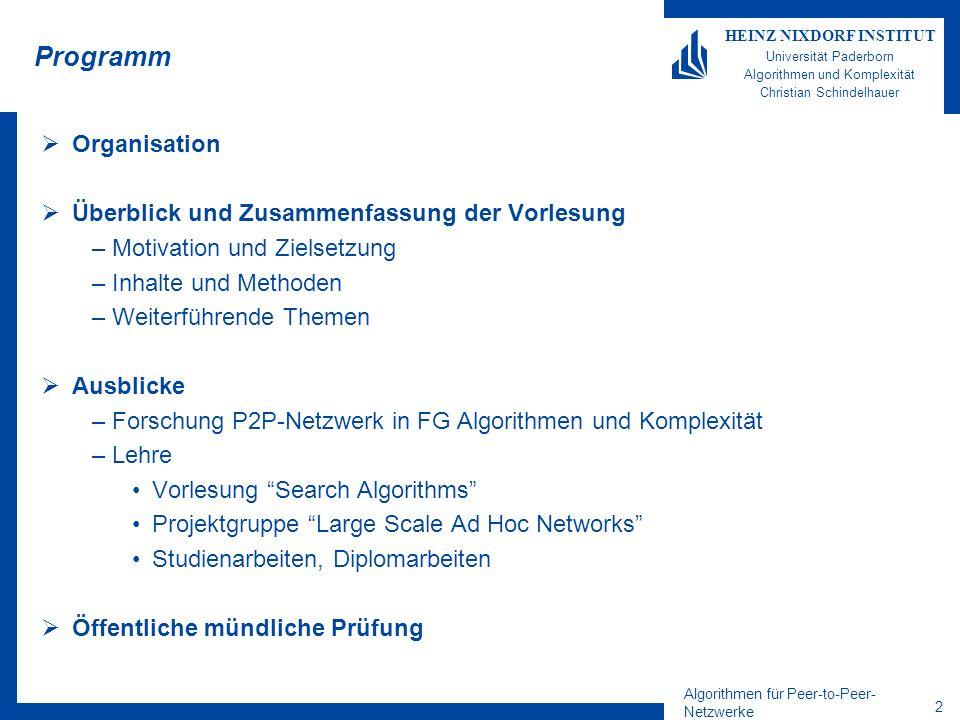 Algorithmen für Peer-to-Peer- Netzwerke 3 HEINZ NIXDORF INSTITUT Universität Paderborn Algorithmen und Komplexität Christian Schindelhauer ORGANISATION Abschlussveranstaltung: Dienstag03.08.