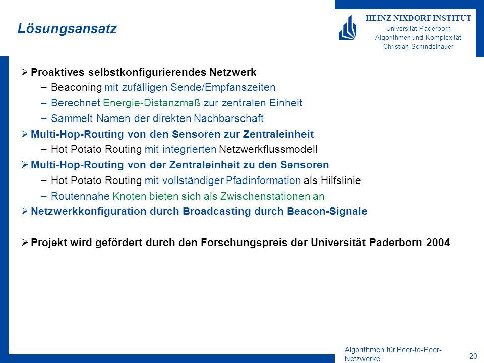 Algorithmen für Peer-to-Peer- Netzwerke 20 HEINZ NIXDORF INSTITUT Universität Paderborn Algorithmen und Komplexität Christian Schindelhauer Lösungsans